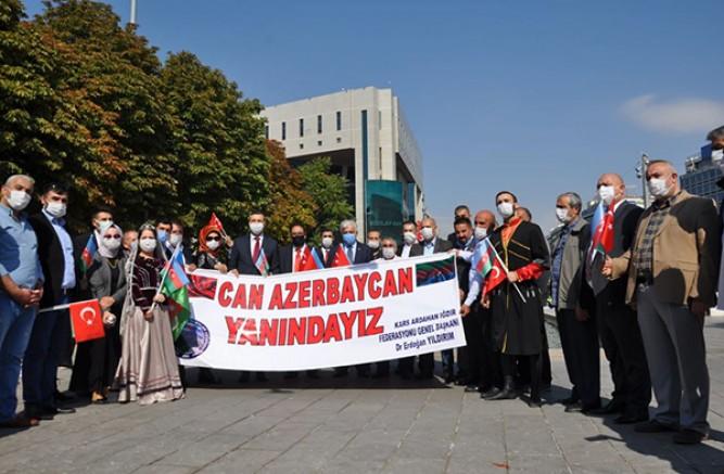 Ankara'da, KAI Dernekler Federasyonu Azerbaycan'a destek mitingi yaptı