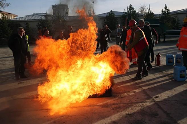 DSİ Kars 24. Bölgede, yangın tatbikatı gerçekleştirildi