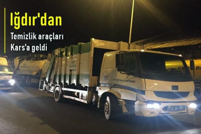 Iğdır Belediyesinden gönderilen temizlik araçları Kars'a geldi