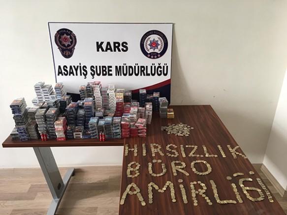 Kars'ta, sanayi hırsızları otobüsle kaçarken yakayı ele verdi