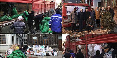 Kars Belediyesinin Elazığ'a yardım götüren Tır'ı yola çıktı